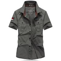 Summer Shirt Men Military Style Brand Clothing Fashion Mens Army Shirt Short Sleeve Uniform Embroidery Camisa