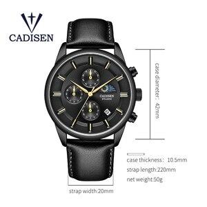 Image 5 - Cadien montre de luxe pour hommes, montre bracelet à Quartz, étanche, Phase lunaire, mode montre cuir décontractée