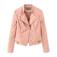 NXH leather jacket women plus size biker faux fall jackets autumn fashion coat pink skyblue