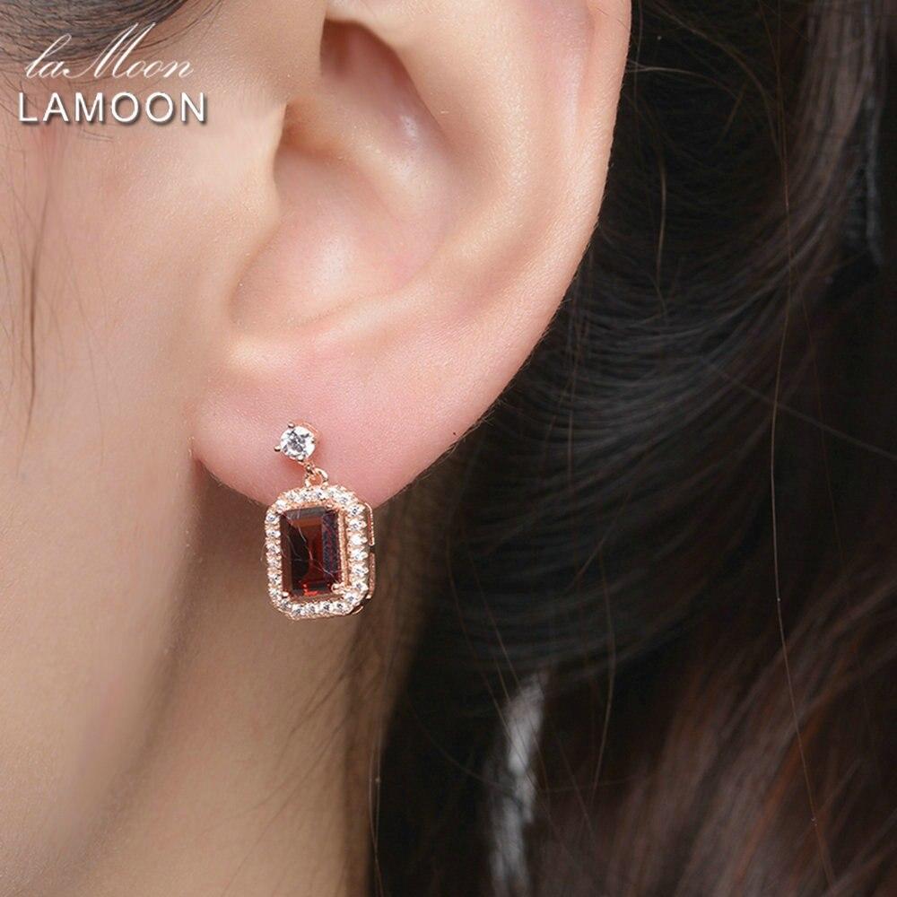 Lamoon Dangle Earring 1.1ct 100% Natural Red Garnet Square Gemstone - Fine Jewelry - Photo 2