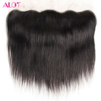 ALot Hair Peruvian Hair Lace Frontal Closure Straight Human Hair Clsoure 13x4 Ear To Ear Non Rmey With Baby Hair 8-18Inch