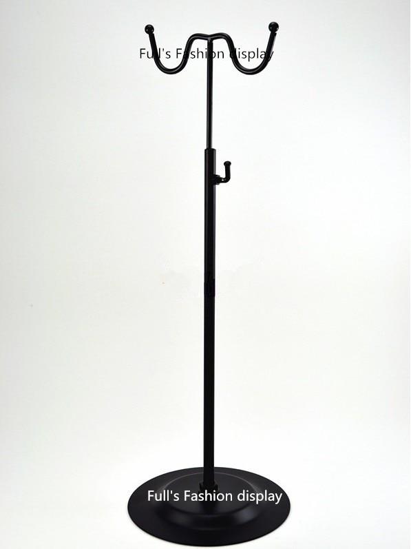 Black Double Hook Women Bag Display Rack Holder Adjustable Wig/silk Scarf/purse/handbag Display Stand Crease-Resistance