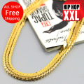 Free shipping High quality 100% 24K real Gold plated  76cm  Cuban Link Chain Hip hop men Necklace hiphop chris brown same design