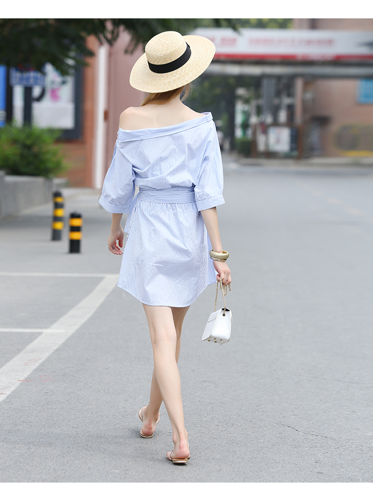 2017Fashion one shoulder Blue striped women shirt dress Sexy side split Elegant half sleeve waistband Casual beach dresses 8