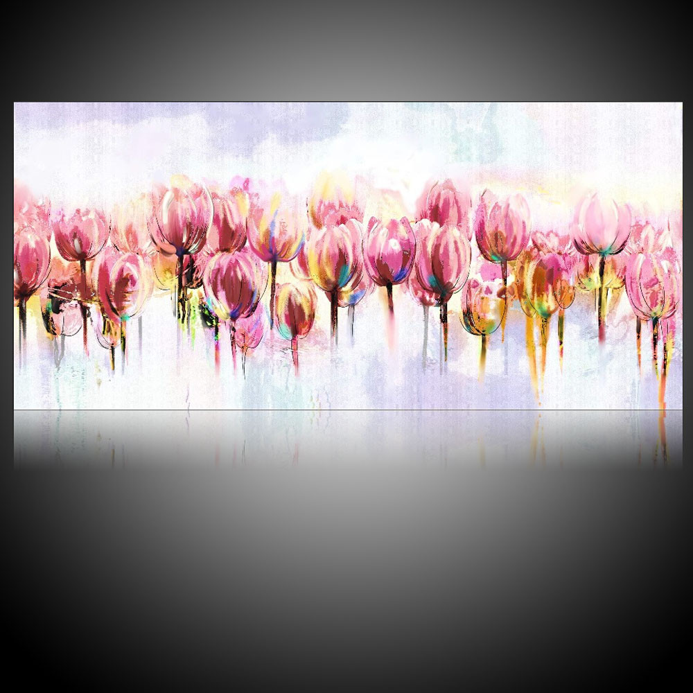 Wall Art Canvas Watercolor Paintings Tulip Floral Oil Pink Flowers Modern Pictures