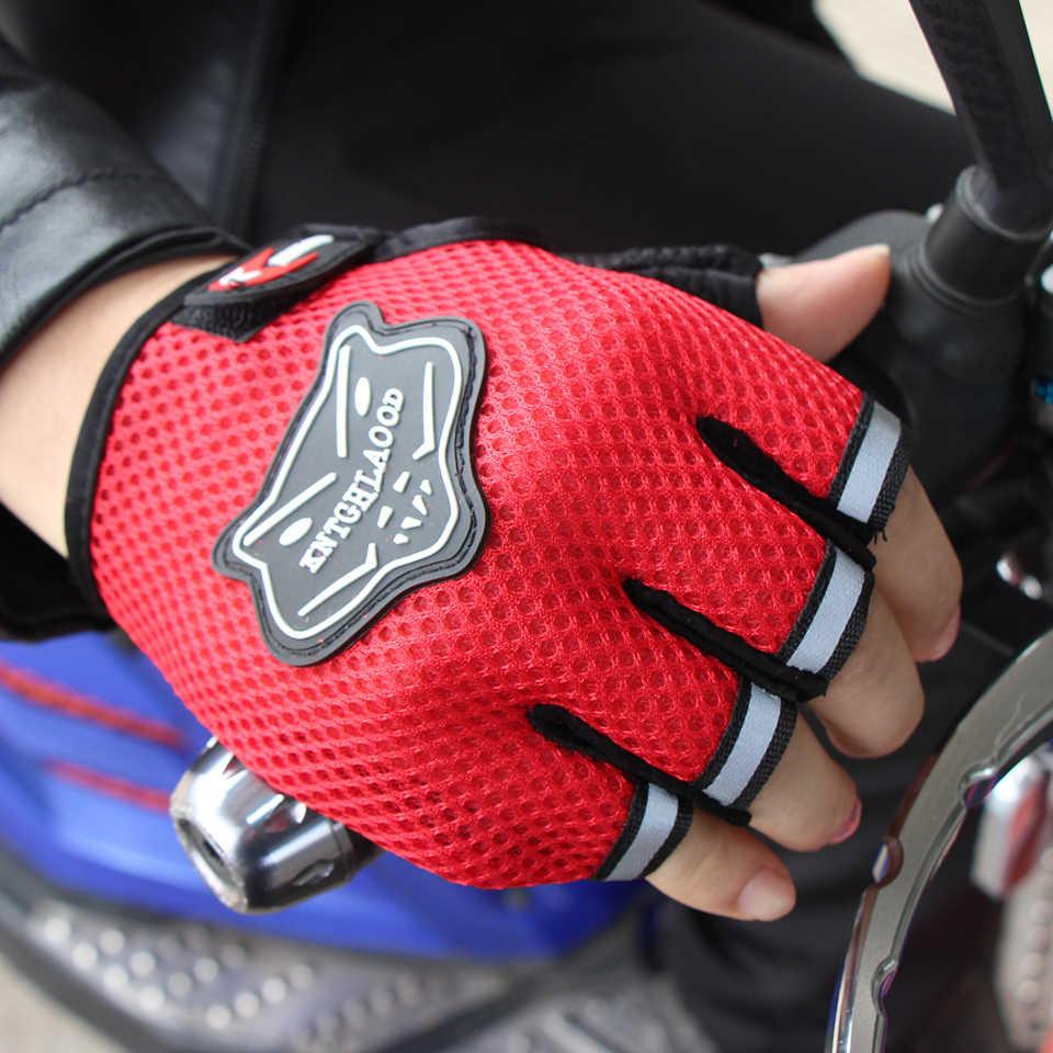 Verão esportes ao ar livre respirável malha ajustável tamanho luvas da motocicleta das mulheres dos homens de fitness meio dedo estilo preto azul vermelho luva