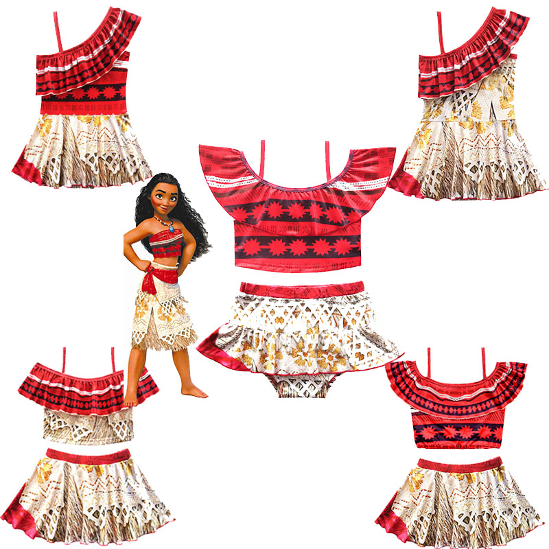 Baby Girls swimsuit Ocean Romance Moana Maui Cosplay cartoon swimwear Princess ballet Kids Summer beach swimming Costume