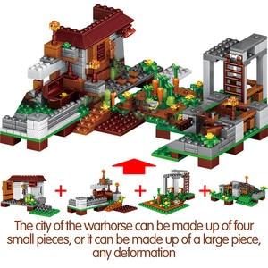 Image 4 - 1208PCS Building Blocks City Village Warhorse City Tree House Waterfall Bricks Educational Kids Toys for children