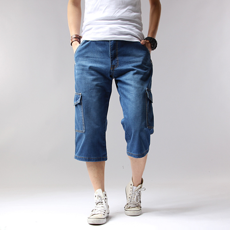 Denim Multi-Pockets Loose Knee-Length Mens Blue Jean Shorts