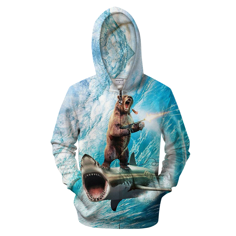 Shark 3D Bear Hoodie Men Zip Hoody Funny Sweatshirt Groot Tracksuit Zipper Coat Pullover Jacket Streatwear Drop Ship  S-6XL