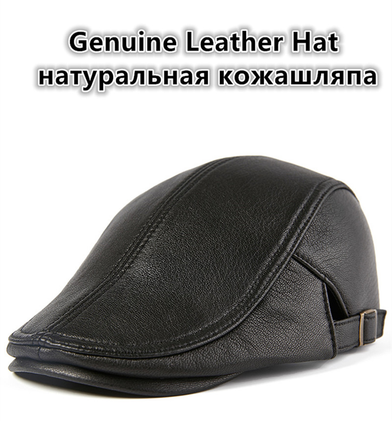 00b73ba87 Big Promo] XdanqinX Autumn Winter Genuine Leather Hat Men's Fashion ...