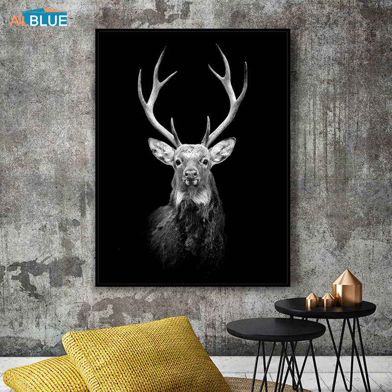 Abstract Canvas Animal Posters And Prints Lion Deer Paintings For Living Room Wall Art Decorative Pictures Black And White Decor