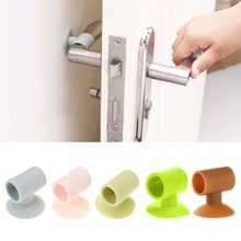 Practical 1Pcs Door Handle Silicone Anticollision Sucker Home Door Protecting Pad Mute Silencer Suction Door Stops Mats(China)