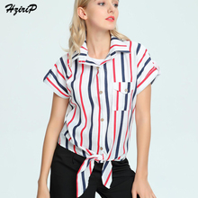 Hzirip Women Colorful Striped Blouse Fashion Turn-down Collar Batwing Sleeve Summer Shirts New Design Beach Style Ladies Tops