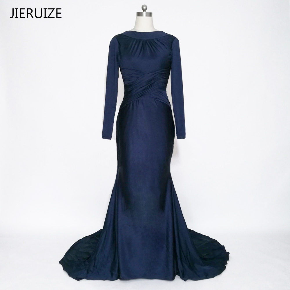 JIERUIZE Dark Navy Blue Spandex Backless Mermaid Evening Dresses ...