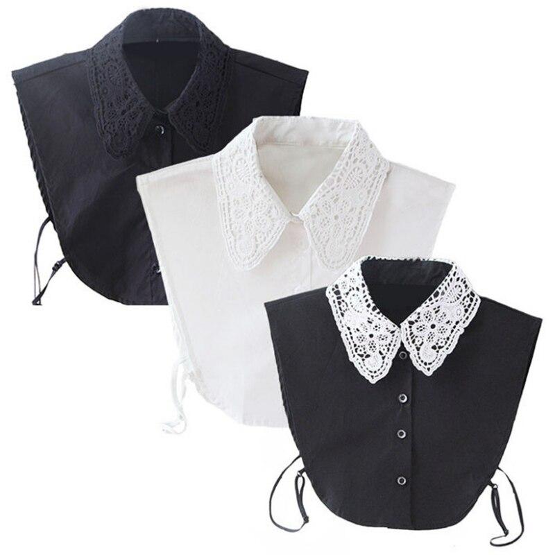 Vintage Women's Fake Lace Shirt Blouse Peter Pan Detachable Collar Tie 3 Colors Newest 2016