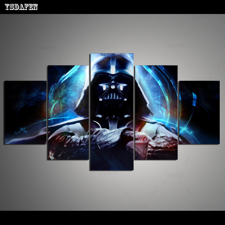 Hd Printed 5 Piece Canvas Art Star Wars Painting Psychedelic Color