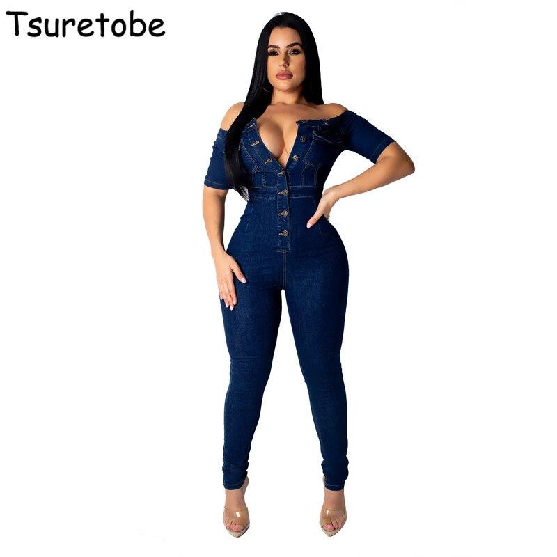 Tsuretobe Off Shoulder Denim Jumpsuit Women Sexy Jeans Bodysuit Female Funk Style Playsuit Girls Hot Sale Casual Overalls