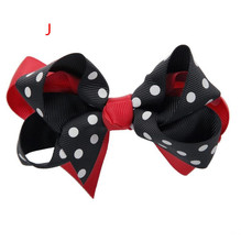 100pcs  Red Black Dots Fabulous Double Layered Boutique Lush Hair Bow