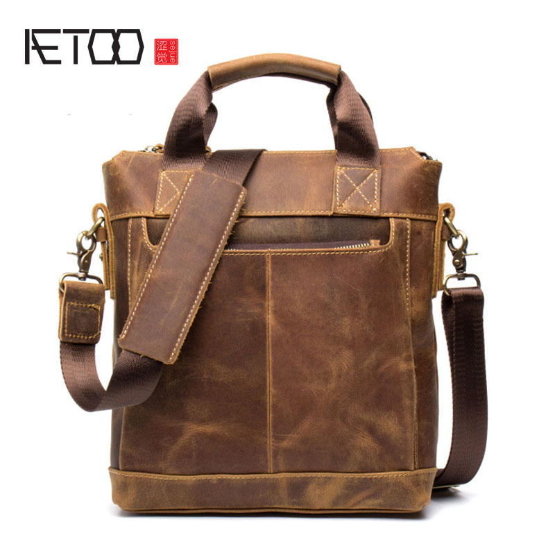 AETOO Business Crazy Horse Leather Men's Bunny Cow Leather Retro Handbag Leather Shoulder Messenger Bag File Bag aetoo crazy horse leather leather classic classic men s 14 inch business portable computer bag