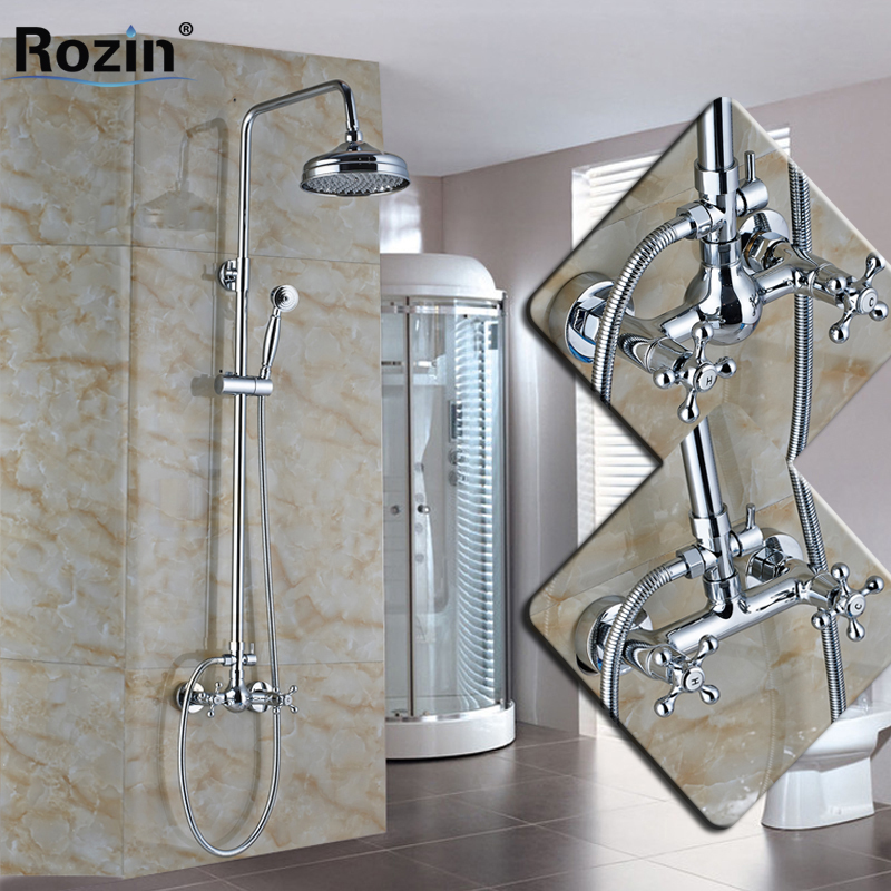Cheaper Wall Mounted Bathroom Shower Mixer Faucet Set Two Handle Brass Handshower 8 Rainfall Shower Taps System wall mount single handle bath shower faucet with handshower antique brass bathroom shower mixer tap