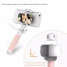 ROCK Selfie Holder Phone Holder Camera Para for xiaomi Wire control monopod Fashion Mini Mirror Selfie Stick Handheld Monopod fo