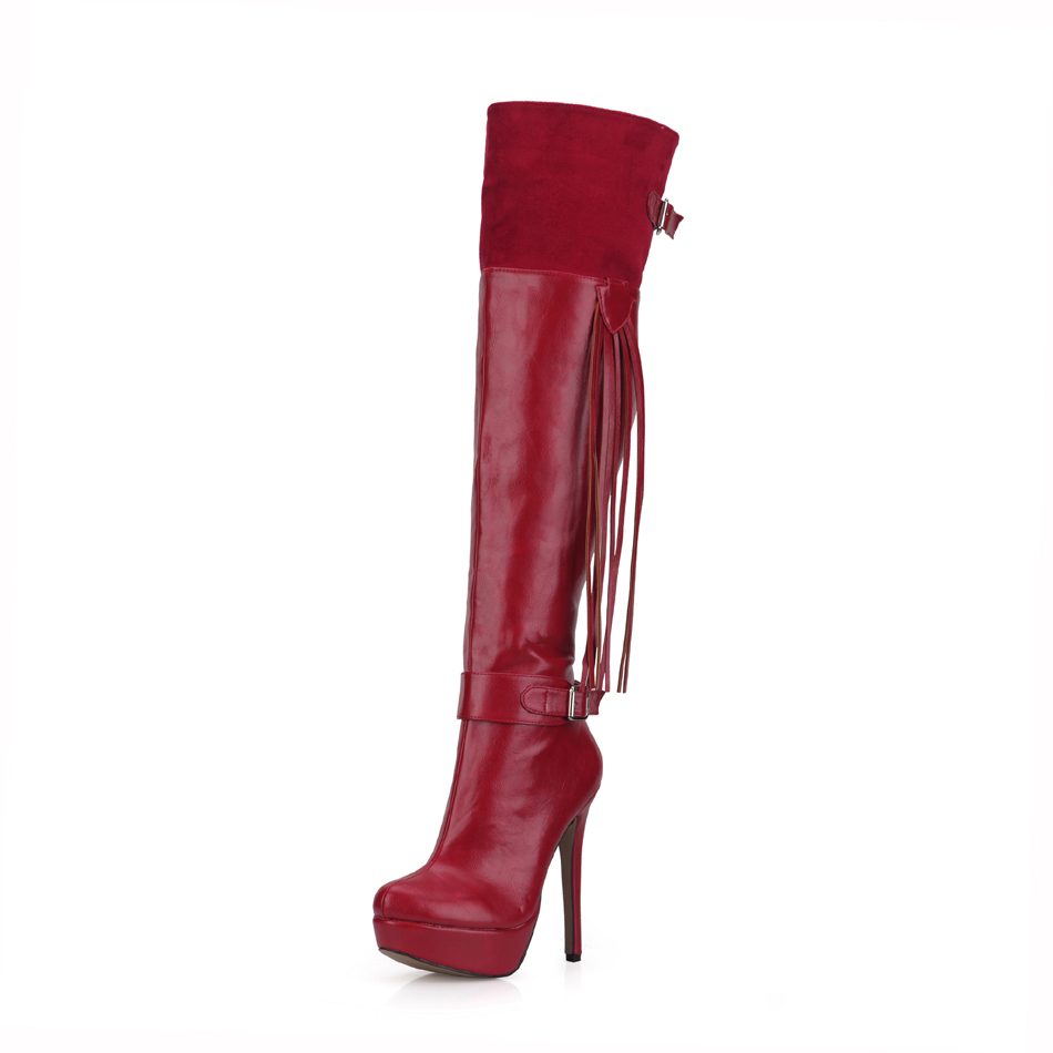 2016 Winter Burgundy Sexy Party Shoe Women Thin High Heel Tassel Buckle Platform Lady Over-the-Knee Boot Zapatos Mujer 3463bt-u3