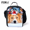 FORUDESIGNS Portable Large Lunch Bags Lunch Box Dog Cat Christmas Print Thermal Food Picnic Lunchbag Insulated Canvas lunch Bags