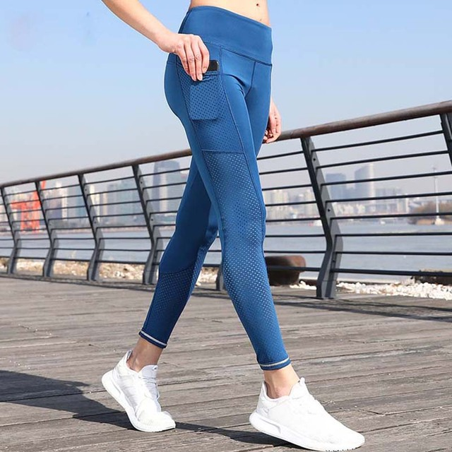 Breathable Mesh Running Jogger Tights Women Stretchy Sport Fitness Pants Reflective Yoga Gym Leggings with Pocket