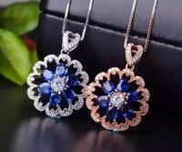 Натуральный Синий Сапфир кулон S925 серебро Природный камень кулон Цепочки и ожерелья модные роскошные цветы подсолнечника женщин партии юв
