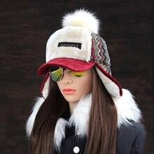 الشتاء فو الكشمير Bomber قبعة المرأة إيرفلاب قبعات بوم بوم من الفراء الصناعي الثلوج القبعات قابل للتعديل البوهيمي الروسية Ushanka