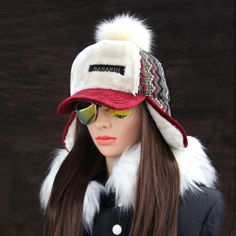 Winter Faux Cashmere Bomber Hat Women Earflap Caps Faux Fur Pompom Snow Hats Adjustable Bohemian Russian Ushanka