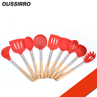 9Pcs/set wood Handle Spoon Skimmer Strainer Set Kitchen Cooking Hot Pot Soup Stainless Steel Wall Hanging Long Handle Soup Ladl