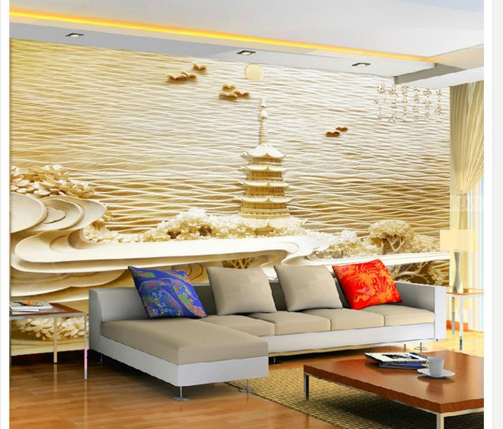 Home Decoration 3d bathroom wallpaper Woodcarving Yellow Crane Tower ...