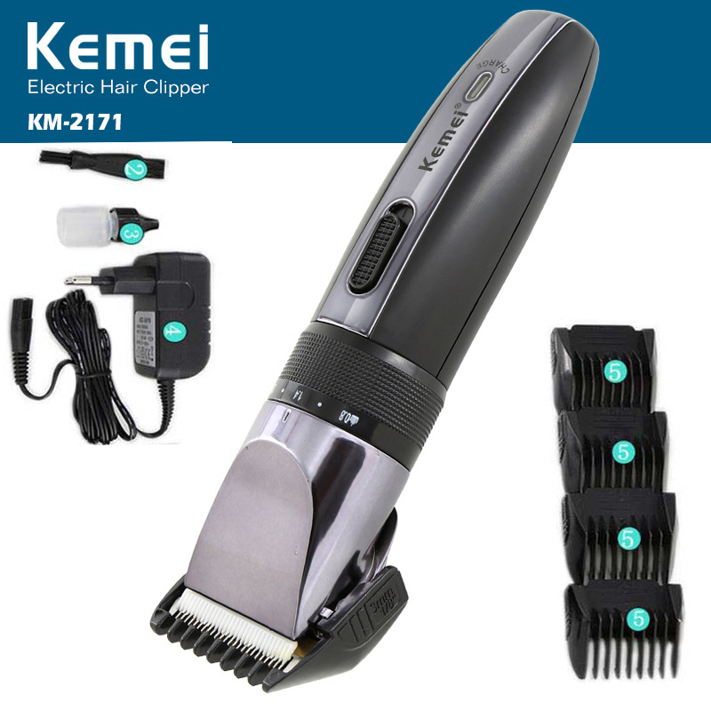 Kemei Electric Hair Clipper Rechargeable Hair Trimmer Shaver Razor Cordless 0.8-2.0mm Adjustable Low Noise For Adult /Child