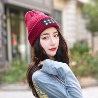 Winter Hat Women Knitted Hat Women Hat Winter Skullies Beanies Fashion Winter Stars Female Cap M1025
