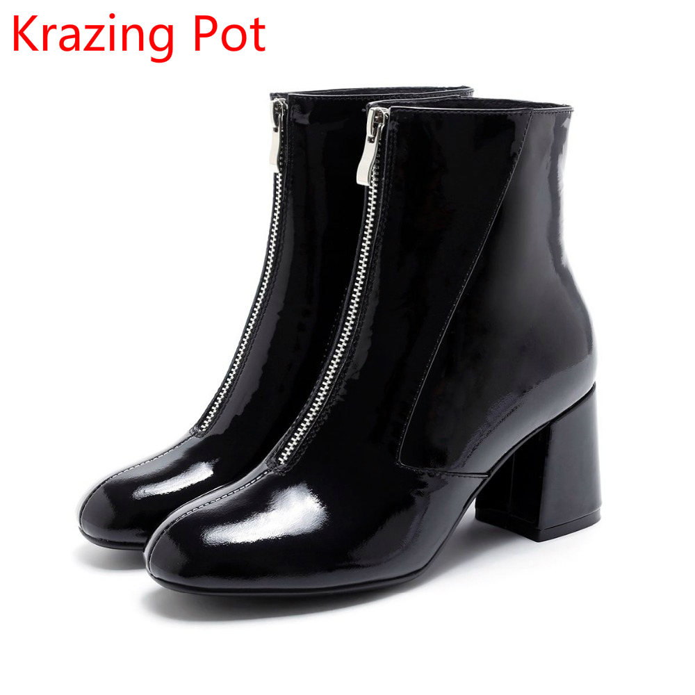 New Arrival Genuine Leather Winter Shoes High Heels Runway Fashion Motorcycle Boots Handmade Zipper Runway Women Ankle Boots L59 hot style 2017 spring new genuine leather handmade retro fashion sponge cingulate shoes high heels slope women shoes a10 15