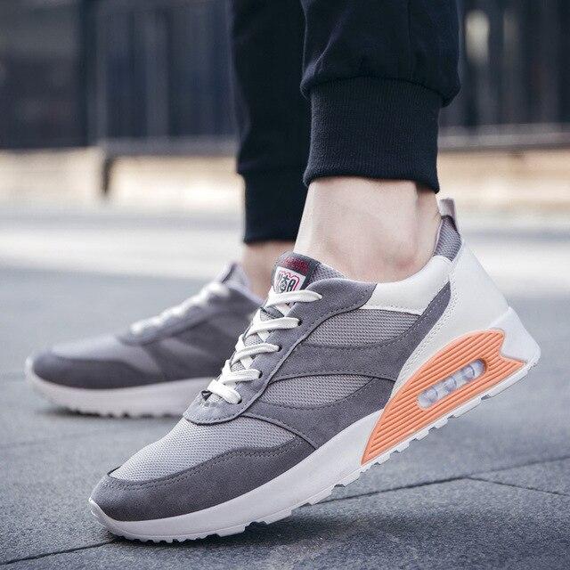 גופר נעליים לגברים 2019 חורף בד זוג סניקרס תחרה עד נמוך ריצה נעלי גבר נעליים לנשימה הליכה נעליים שטוחות