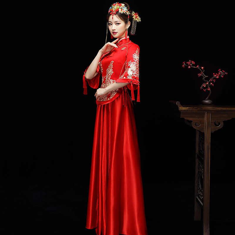 Новое красное традиционное китайское свадебное платье Ципао Национальный костюм женский заморской китайский стиль невесты вышивка Cheongsam S-XXL
