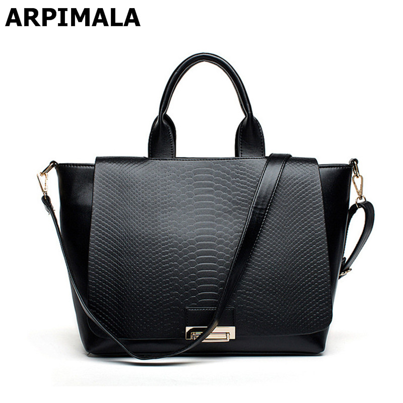 ФОТО ARPIMALA European Style Genuine Leather Handbags Snake Women Big Bag Crocodile Brand Designer Tote Real Leather Hand Bags Purse