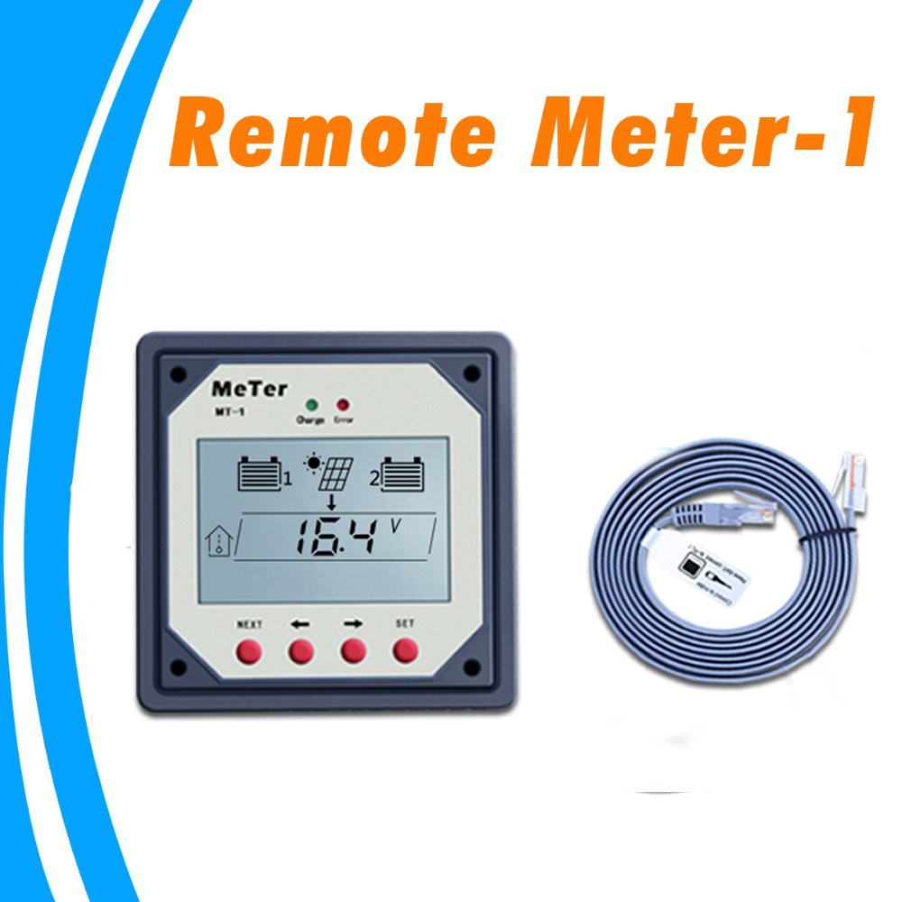 LCD Remote Meter for Dual Battery Solar Charge Controller Regulators MT-1 with 10m Cable Giant Remote Control