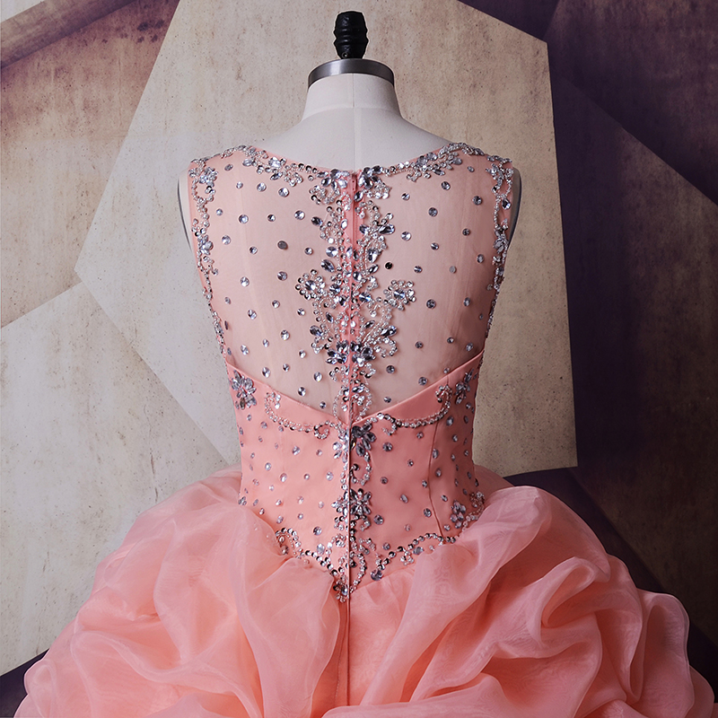 SoDigne Organza Wedding Dress Masquerade Peach Crystals Pink Wedding Gown  Plus size Ball Gown Queen Bridal Ruched Newest Coming-in Wedding Dresses  from ... ed691f12aea8