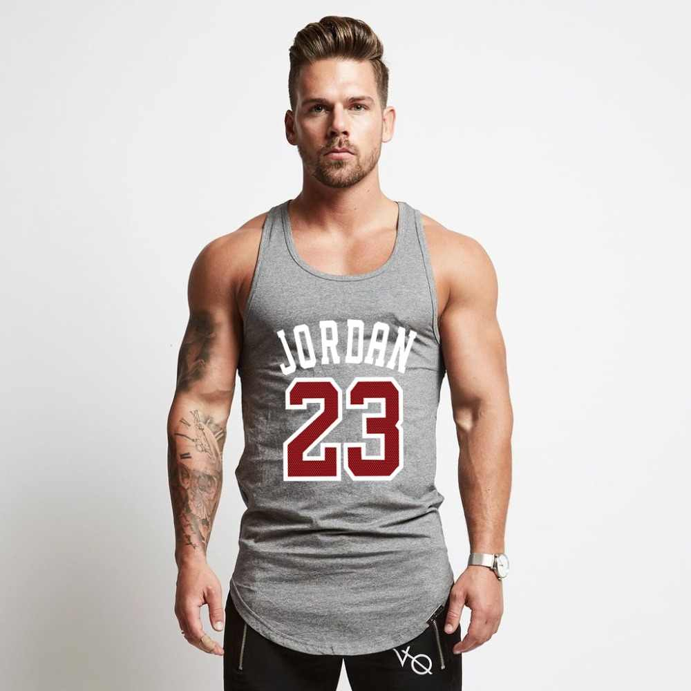 b77252dc7a1af3 2018 Summer Brand Clothing Jordan 23 Men Vest Cotton Print Men Fitness Tank  Tops Fitness Vest