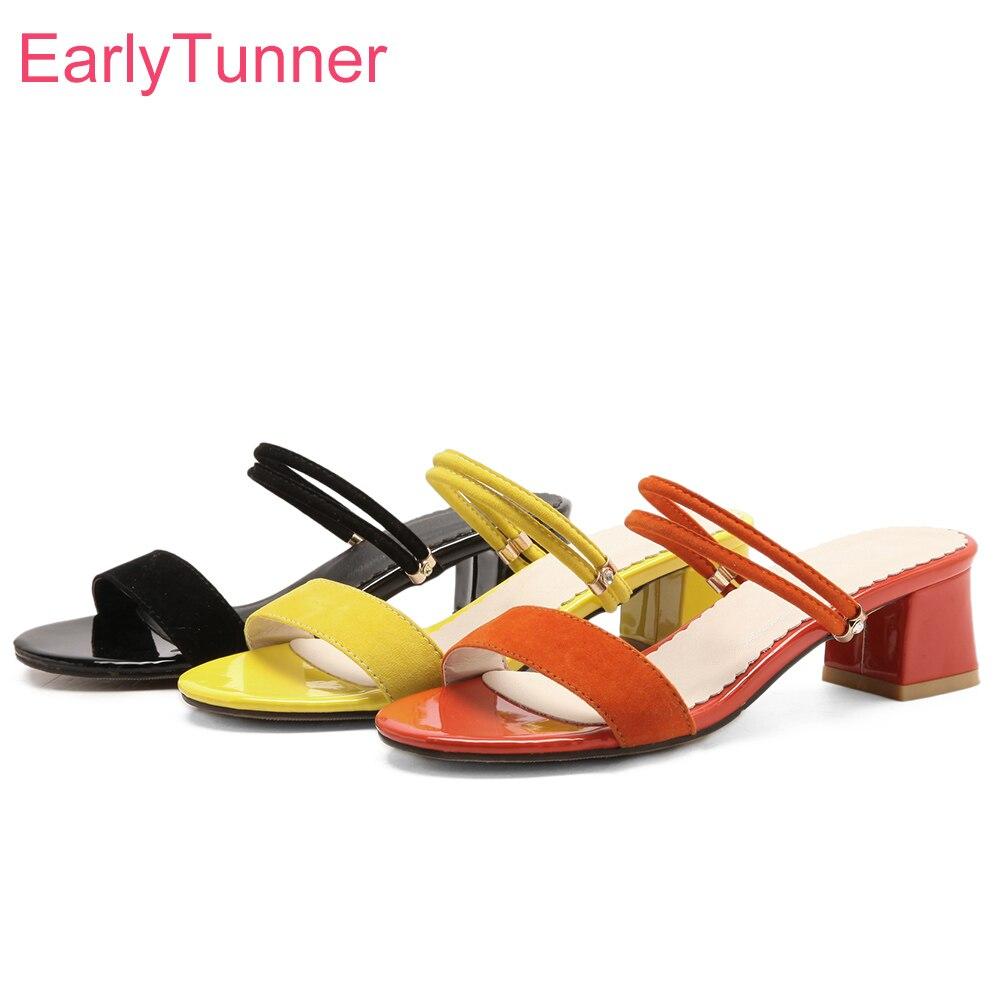b5a6adf0c3 Cheap Nuevas sandalias negras anaranjadas cómodas de mujer con tacones de  gladiador Med zapatos de playa