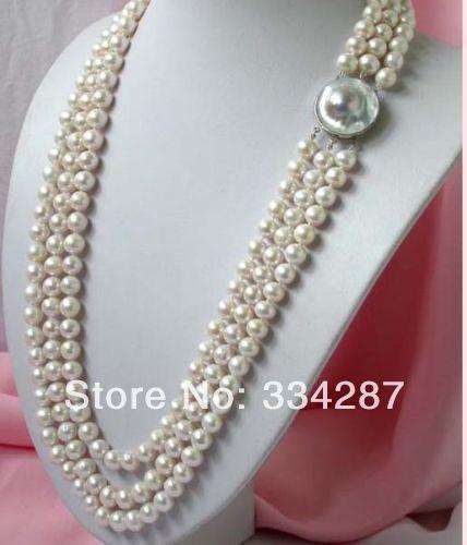 100% Venta de Imagen completa 3 strands impresionante Encanto blanco 8-9 collar de perlas
