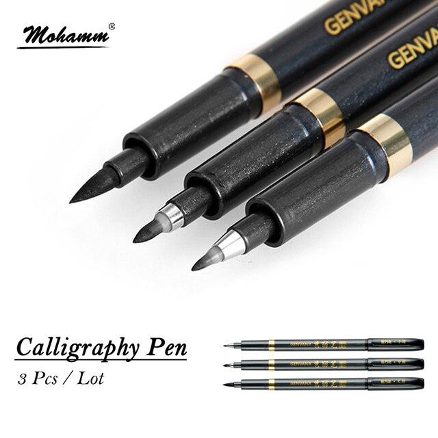 3 stks/partij GEnvAnA Kalligrafie Marker Pen Haak Lijn Tekening Schets Markers Pen Voor Kantoor School Schrijven Art Supplies