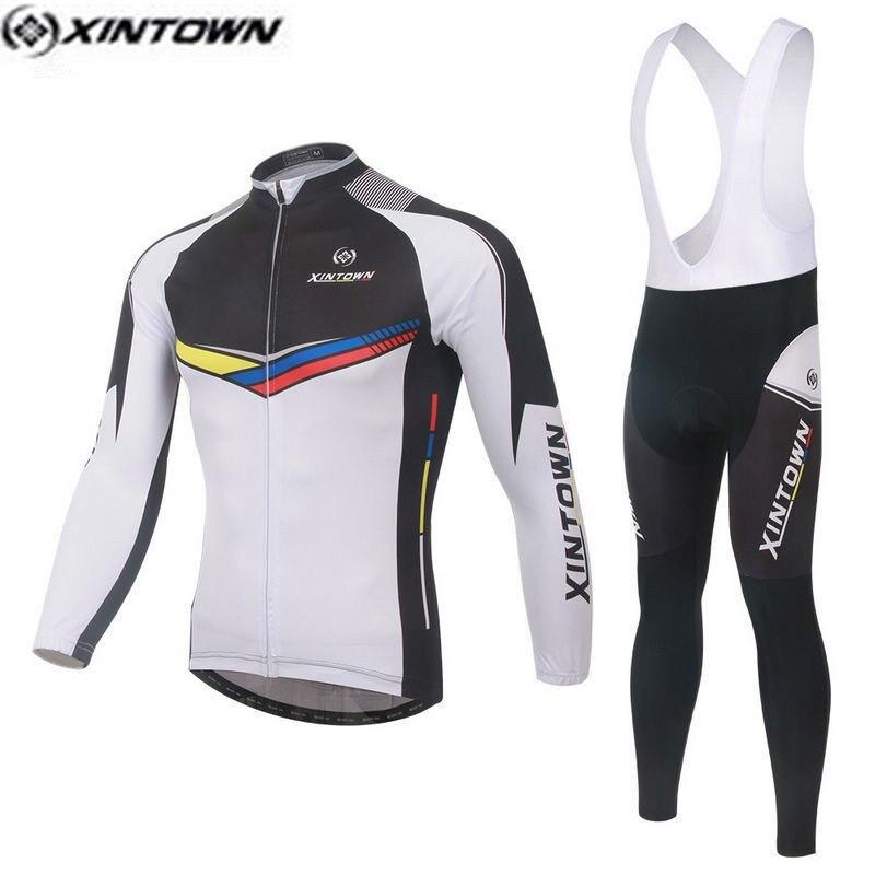XINTOWN Men Skull Gray MTB Bike jersey Bib Pants Sets Cartoon Pro Team Cycling clothing Riding Wear Long Sleeve Shirts