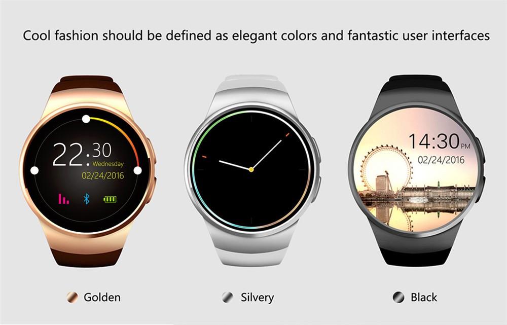 2016 New Product KW18 Smart Watch Android IOS Digital watch Bluetooth Reloj Inteligente SIM Round Heart Rate Monitor Watch Clock31