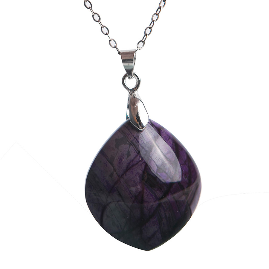 Natural Sugilite Plated Necklace Pendant Purple Trendy Popular Men Necklace Free Shipping Women Genuine Fashion 27*14*8mm mele natural shell necklace pendant for women fashion meteor collar trendy and popular manual work handmade