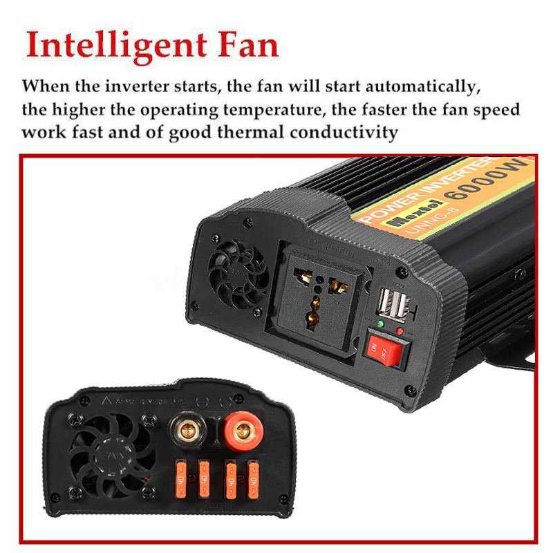 Inverter 6000W 12 V to AC 220 Volt LCD Digital Max 12000 Watt Modified Sine Wave Converter Car Charge Converter Transformer USB - 4